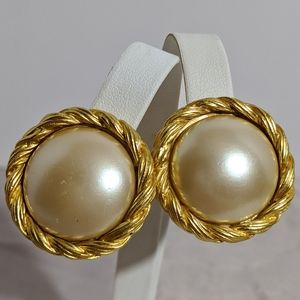 Vintage Gold & Faux Pearl Carolee Clip Earrings